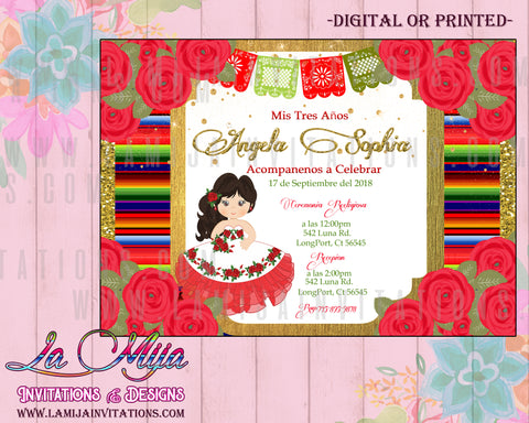 Mexican Theme Birthday Invitations, Tres Anos Invitations, Presentacion Mexican Invitations, 1 Charra Tres Anos Invitations, 14,Mexican Tres Anos - Addi Creations