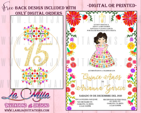 Quinceanera Invitations, Customized Item, Charra Theme Quinceanera Invitations, Invitaciones de Quince Anos, Mexican Theme Quinceanera Invitations - Addi Creations