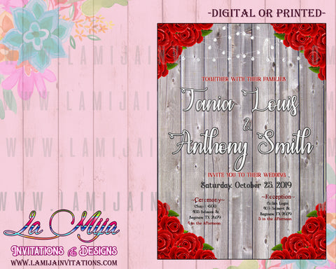 Wedding Invitations, Red Roses Wedding Invitations, Silver Wedding Invites, Invitaciones de Boda