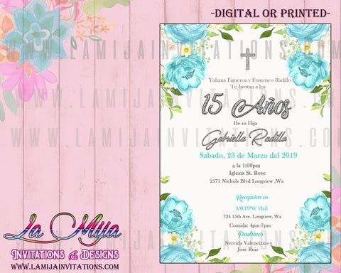 Quinceanera Invitations, Customized Item, Turqouise Quinceanera, Quinceanera Flowers, Invitaciones Quinceanera