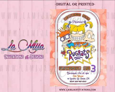 Rugrtas Invitations, Rugrtas Birthday Invitations, Rugrats Party Invites - Addi Creations