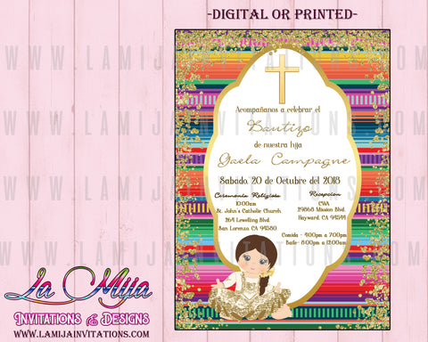 Charra Invitations, Customized Item, Mexican Baptism Invitations, Charra Baptism Invitations, Invitaciones Charra, Bautizo Charra - Addi Creations