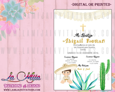 Charro Baptism Invitations, Customized Item, Charro Invitations, Mexican Baptism Invitations, Muchachito Baptism, Charrito Bautizo, Charro Bautizo Invites,Invitaciones Bautizo Charro - Addi Creations
