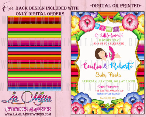 Baby Fiesta Invitations, Mexican Theme Baby Shower Invitations, Customized Item, Invitaciones Baby Shower, - Addi Creations