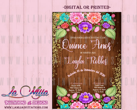 Quinceanera Invitations, Mexican theme Quinceanera Invitations, Rustic Quinceanera Invitations, Charra Quince Invites, 5, Invitaciones Quinceanera - Addi Creations