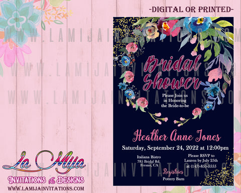 Floral Bridal Shower Invitations, Summer Bridal Shower Invitations, Summer Bridal Invites, Invitaciones Despedida de Soltera, Bridal Shower Invitations
