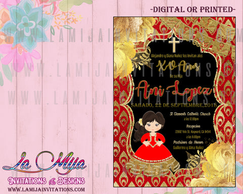 Charra Invitations, Customized Item, Charra Theme Birthday Invitations, Red and Gold Charra Quinceanera, Red and Gold Charra, Quinceanera Invitations, Mexican Quinceanera Invitations, Invitaciones Charra Quince Anos, Mis Quince Anos Charra, Charra Theme - Addi Creations