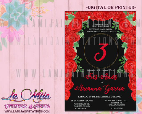 Presentacion Tres Anos Invitations, Customized Item, Charra Tres Anos, Red Roses Presentacion Invitations,Mexican Theme Tres Anos Invitations - Addi Creations
