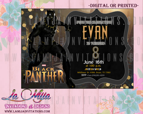 Black Panther Invitations, Customized Item, Black Panther Birthday Party Ideas, Black Panther Birthday Invitations, Black Panther Party Invitations