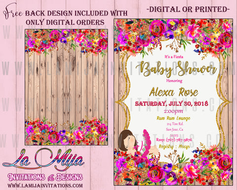 Baby Fiesta Invitations,  Customized Item, Fiesta Baby Shower Invitations, Girl Baby Fiesta Invitations, Mexican Theme Baby Shower Invitations, Invitaciones Baby Shower, Baby Shower Mexican Theme - Addi Creations
