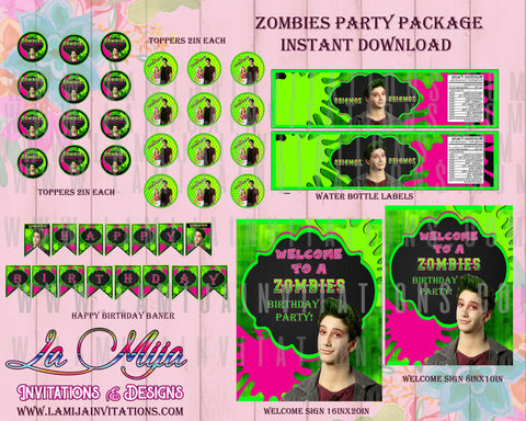 Zombies Disney Party, Zombies Disney Birthday Cupcake Toppers, Zombies Disney, Zombies Disney Party Decor, Zombies Disney Birthday Ideas, Zombies Disney Invitations - Addi Creations