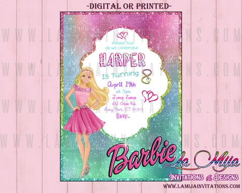 Barbie Invitations, Customized Item, Barbie Birthday Invitations, Barbie Party Invitations, Barbie Party Ideas - Addi Creations