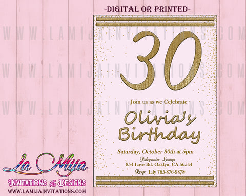 30th Birthday Invitations, 30th Party Invitations, Customized Item, 30th Party Invites, 30th Party Themes, 30th Birthday Celebration - Addi Creations