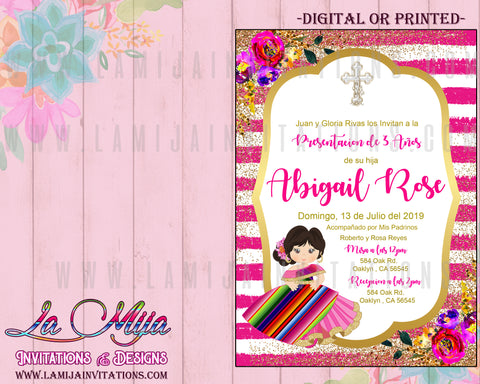 Presentacion de Tres Anos Invitations, Customized Item, Tres Anos Invitations, Invitaciones Tres Anos, Pink Tres Anos - Addi Creations