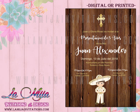 Presentacion de Tres Anos Invitations, Customized Item, Charro Tres Anos Invites, Rustic Presentacion - Addi Creations