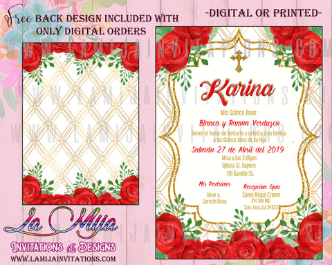 Quinceanera Invitations, Customized item, Red Roses Quinceanera Invites, Invitaciones Quinceanera