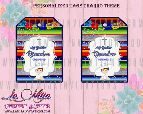 Charro Tags, Charro Thank You Tags, Customized Item, Charro Baptis