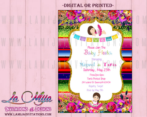 Fiesta Baby Shower Invitations, Customized Item, Baby Fiesta Invitations, Baby Shower Fiesta Invitations, Mexican Theme Invitations, Mexican Baby Shower Invitations, Mexican Theme Baby Shower Ideas, Invitaciones Baby Shower Tema Mexicano - Addi Creations