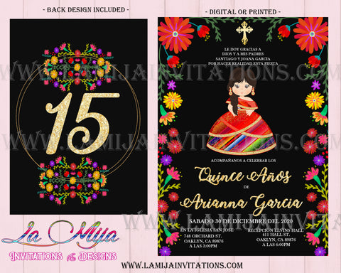 Quinceanera Invitations, Customized Item, Charra Quince Anos Invites, Invitaviones de Quinceanera, Mexican Theme Quinceanera Invites - Addi Creations