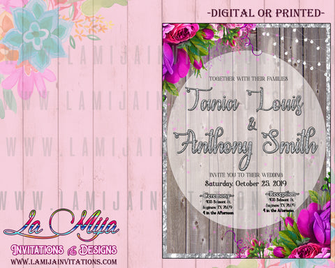Wedding Invitations, Floral Wedding Invitations, Rustic Wedding Invitations, Fuschia Wedding, Invitaciones de Boda
