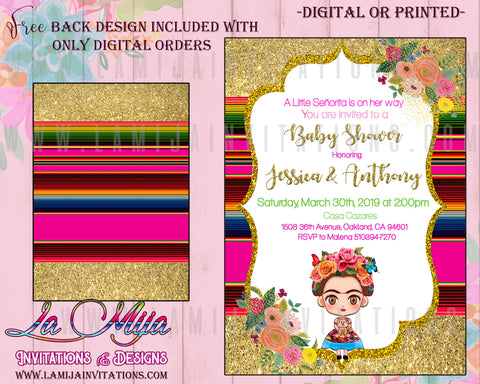 Frida Kahlo Invitations, Frida Kahlo Baby Shower Invitations, Frida Kahlo Party Theme, Invitaciones Frida Kahlo, 3,Frida Kahlo Baby Shower Tags - Addi Creations