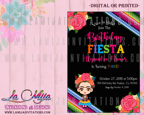 Frida Kahlo Invitations, Customized Item, Frida Kahlo Birthday Invitations