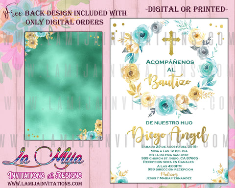 Bautizo Invitations, Customized Item, Baptism Spanish Invitations, Spanish Religious Invitations, Bautizo Party Ideas
