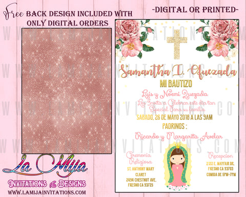Virgencita Invitations, Virgen de Guadalupe Invitations, Virgen Invitations, Bautizo Invitations - Addi Creations