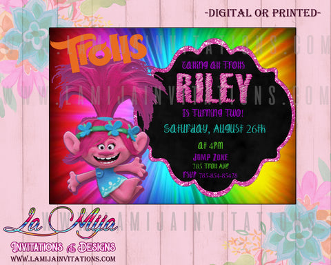 Disney Trolls Invitations,  Customized Item, Trolls Birthday Invitations, Disney Trolls Invites, Invitaciones Trolls, Fiesta Trolls, Trolls Birthday Theme - Addi Creations