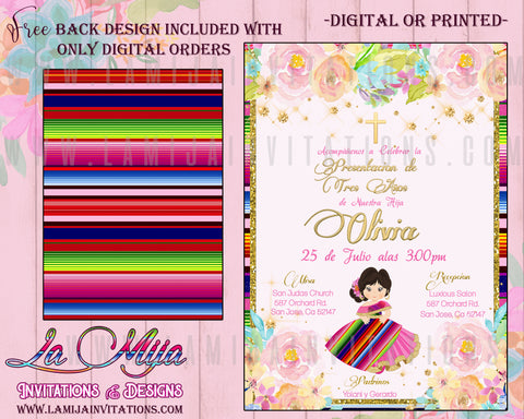 Tres Anos, Tres Anos Invitations, Presentacion Tres Anos Invitations, Tres Anos Party Ideas, 3 Anos Party Invites, Invitaciones Tres Anos - Addi Creations