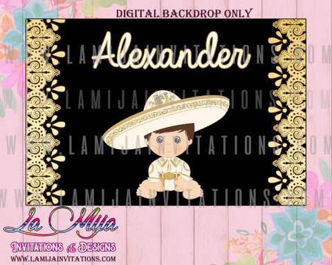 Charro Party Backdrop, Customized Item, Digital Only, Charro Backdrop, Gold Charro