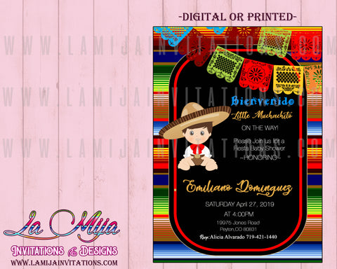 Baby Fiesta Invitations, Customized Item, Mexican Theme Baby Shower Invitations, Invitaciones Baby Shower Mexicano - Addi Creations