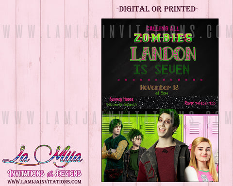 Zombies Disney Party Invitations, Customized Item, Zombies Disney Invitations, Zombies Disney Birthday Ideas, Zombies Invitations, Zombies Movie Birthday, Zombies Disney Birthday Invitations - Addi Creations