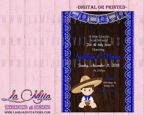 Fiesta Baby Shower Invitations, Mexican Baby Shower Invitations, Charro Theme Baby Shower Invites, Charro Baby Shower Invitations - Addi Creations