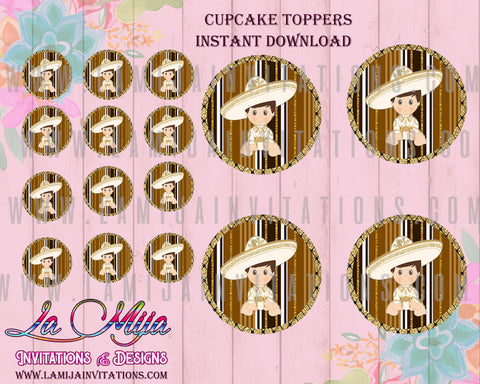 INSTANT DOWNLOAD, Baby Fiesta Cupcake Toppers, Mexican Baby Shower Toppers, Fiesta Baby Shower Theme, Printables
