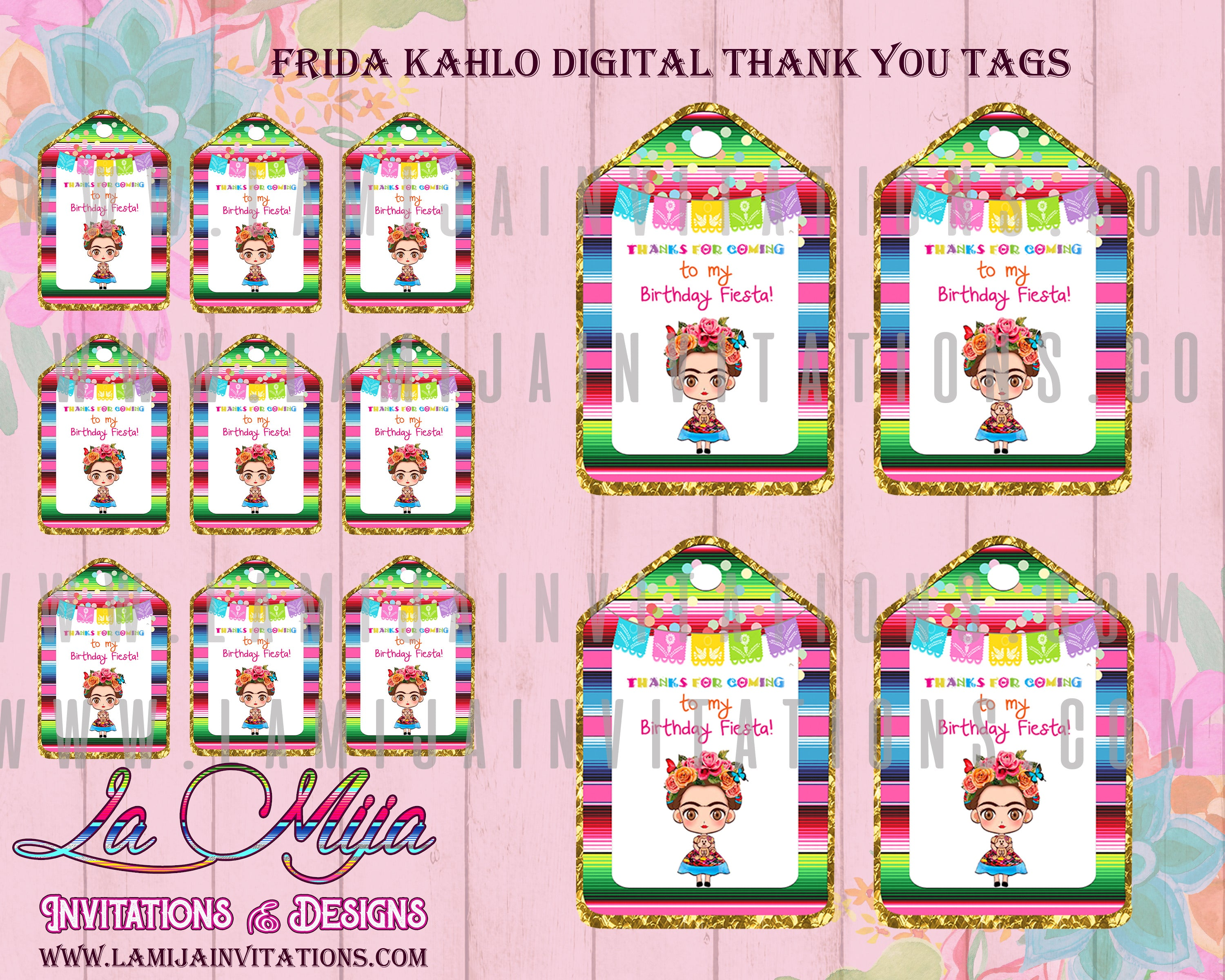 Frida Kahlo Birthday, Frida kahlo Invitations, Digital Only, Customized Tags, Frida Kahlo Favor Tags, Frida Kahlo Thank You Tags, Fiesta frida Kahlo, Invitaciones Frida Kahlo