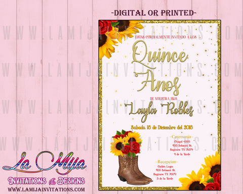 Quinceanera Invitations, Quince Anos Invitations, Invitaciones Quinceanera, Western Quinceanera Invitations, Sun Flowers Quinceanera - Addi Creations
