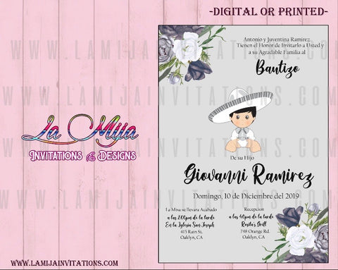 Charro Invitations, Customized Item, Mexican Theme Baptism Invitations, Invitaciones de Charro, Bautizo Charro Invites - Addi Creations