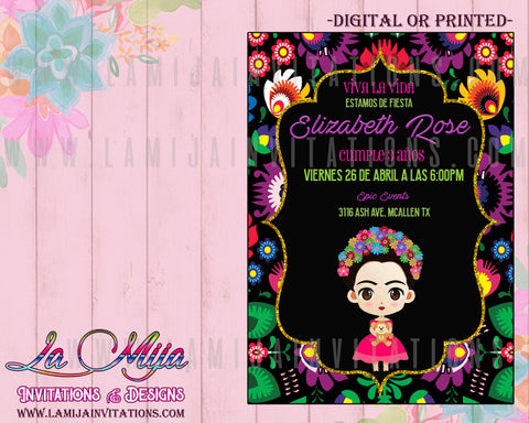 Frida Kahlo Invitations, Customized Item, Invitaciones Frida Kahlo, Frida Kahlo Birthday Invitations, Frida Kahlo Party - Addi Creations