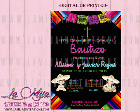 Charro Invitations, Customized Item, Mexican Baptism Invitations, Invitaciones Charro, Bautizo Charro, Charra, Twin Charro Invites, Serape - Addi Creations