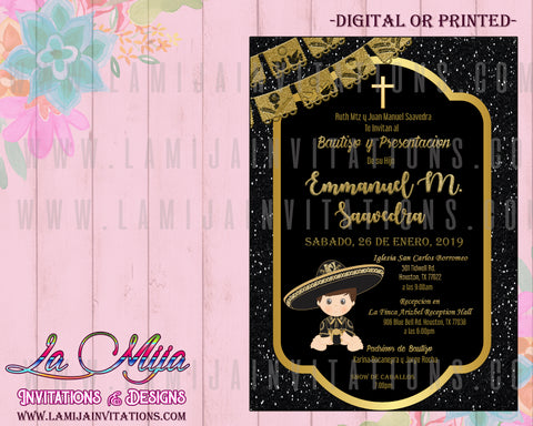 Charro Invitations, Customized Item, Charro Baptism Invitations, Invitaciones Charro, Mexican Baptism Invitations, Charro theme Invites