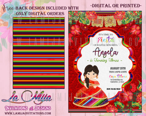 Mexican Theme Tres Anos Invitations , Mexican Theme Presentacion Tres Anos, Tres Anos Invitations, Invitaciones Tres Anos, Invitaciones Presentacion Charra, Tres Anos Charra - Addi Creations