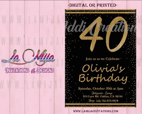 40th Birthday Invitations, Customized Item, Forty Birthday Invites, 40th Party Invites, 40th Birthday Celebration - Addi Creations