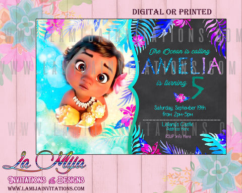 Moana Birthday Invitation, Moana Invitations, Moana First Birthday, Baby Moana Invitations, Baby Moana Party Invites, Baby Moana Birthday Party Ideas, Baby Moana