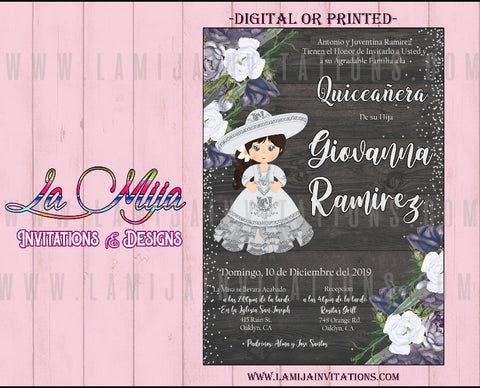 Quinceanera Invitations, Customized Item, Gray, Silver Quinceanera Invitations, Invitaciones Quince Anos, Charra Quieancnera Invitations - Addi Creations