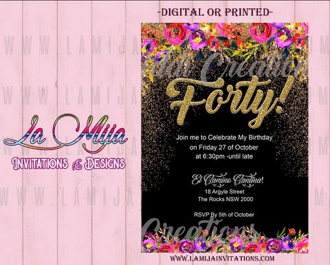 40th Birthday Invitations, Customized Item,  Forty Invitations, Invitaciones 40 Anos, 40th Celebration Invites - Addi Creations
