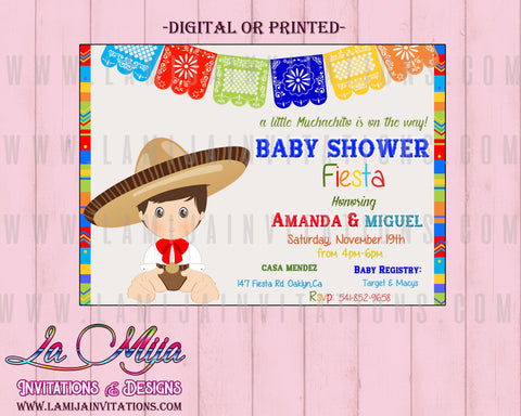 Charro Invitations,  Customized Item, Fiesta Baby Shower Invitations, Baby Fiesta Invitations, Mexican Baby Shower Invitations, Baby Fiesta Theme, Invitaciones Baby Shower, Charro Baby Shower - Addi Creations