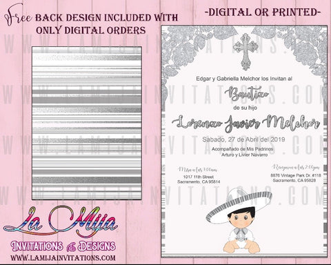 Mexican Baptism Invitations, Customized Item, Charro Invitations, bautizo Invitaciones, Charro - Addi Creations