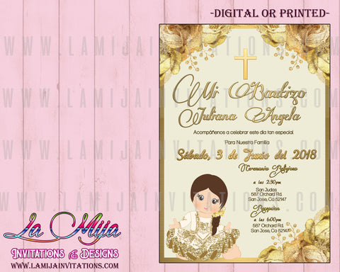 Charra Baptism Invitations, Customized Item,  Mexican Baptism Invitations, Mexican Theme Baptism, Gold Charra Invitations, Invitaciones Bautizo, Bautizo Charro, Charra Theme, Fiesta Baptism - Addi Creations