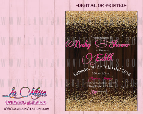 Spanish Baby Shower Invitations, Invitaciones Baby Shower, Glitter Baby Shower Theme, Gold Baby Shower, Cheap Baby Shower Invitations - Addi Creations